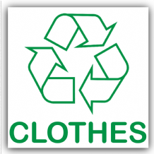 1 x Clothes Recycling Bin Adhesive Sticker-Recycle Logo Sign-Environment Label